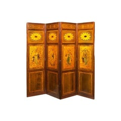 Late Victorian Mahogany and Satinwood Inlaid Four Fold Drafts Screen