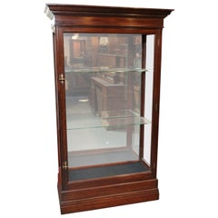 Late Victorian Mahogany Display Cabinet with 2 Adjustable Glass Shelves