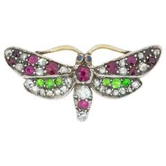 Late Victorian Multi-Gem Butterfly Brooch