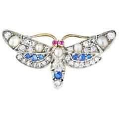 Late Victorian Multigem Butterfly Brooch