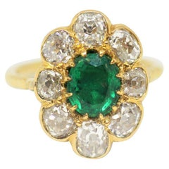 Late Victorian Natural Emerald and Old Cut Diamond Cluster Ring, Circa 1890