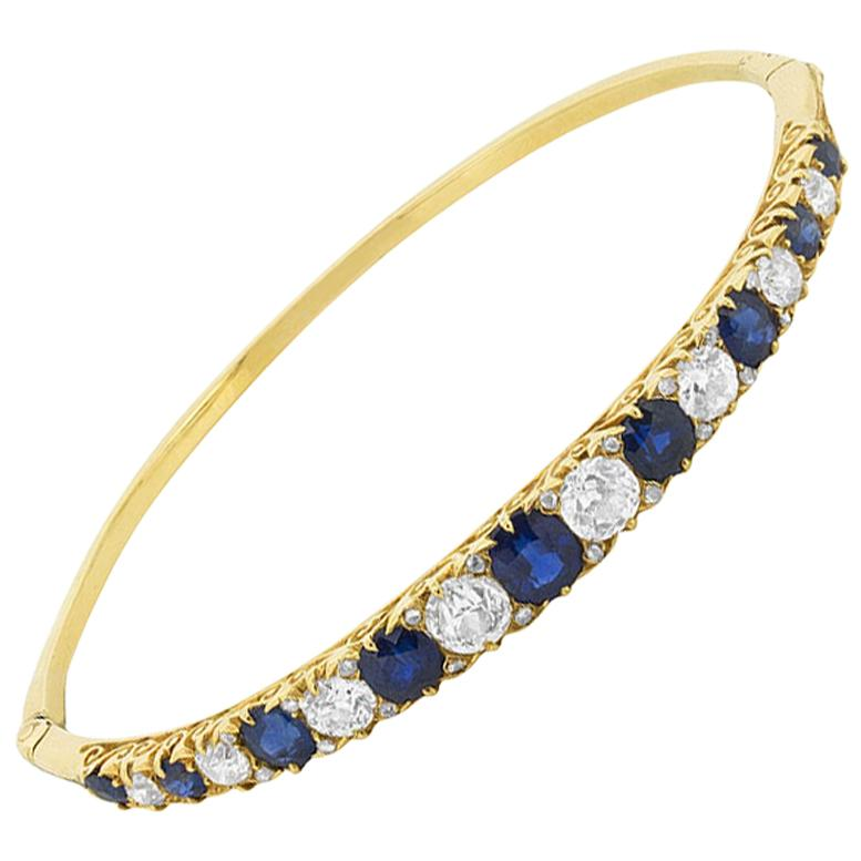 Late Victorian Old Cut Sapphire and Diamond Bangle Bracelet, circa 1900s