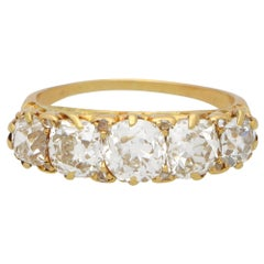 Late Victorian Old Mine Cut Diamond Five Stone Ring Set in 18k Yellow Gold