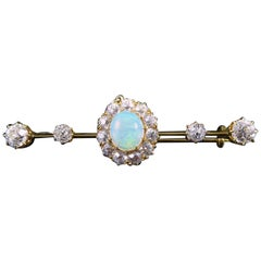 Late Victorian Opal and Diamond Bar Brooch, Tests as 18 Carat Yellow Gold