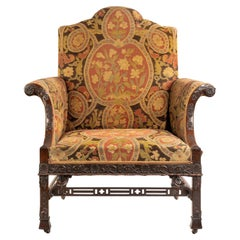 Late Victorian Oversized Armchair in the Chippendale Manner