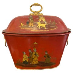 Late Victorian Painted Tole Coal Scuttle