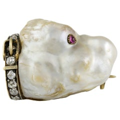 Late Victorian Pearl, Gem Set and Diamond Dog Brooch