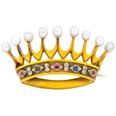 Late Victorian Pearl Sapphire Ruby Diamond 18 Karat Gold Crown Brooch circa 1890