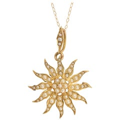 Late Victorian Pearl Starburst Pendant Brooch
