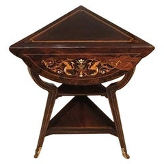 Late Victorian Period Marquetry Inlaid Triangular Occasional Table