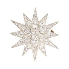 Late Victorian Platinum Old Mine Cut Diamond Star Brooch