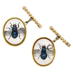 Late Victorian Reverse Carved Essex Crystal Fly Insect Cufflinks