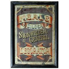 Late Victorian Reverse Glass Sign Written Advertising Mirror, circa 1870-1880