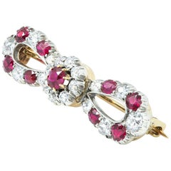 Late Victorian Ruby and Diamond Bow Brooch