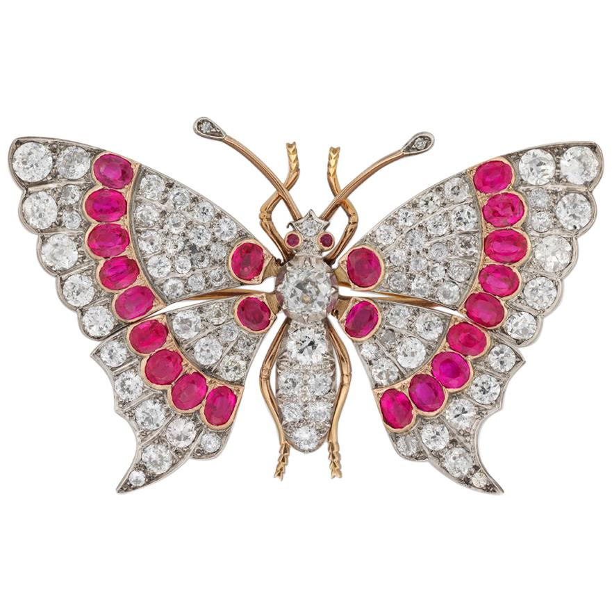 Late Victorian Ruby and Diamond Butterfly Brooch