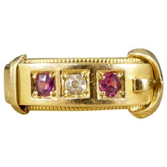 Late Victorian Ruby and Diamond Set Buckle Ring in 18 Carat Yellow Gold