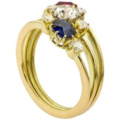 Late Victorian Ruby, Diamond and Sapphire Three-Row Ring