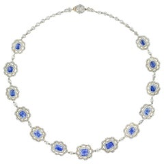 Late Victorian Sapphire and Diamond Cluster Necklace