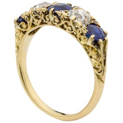 Late Victorian Sapphire and Diamond Five-Stone Ring