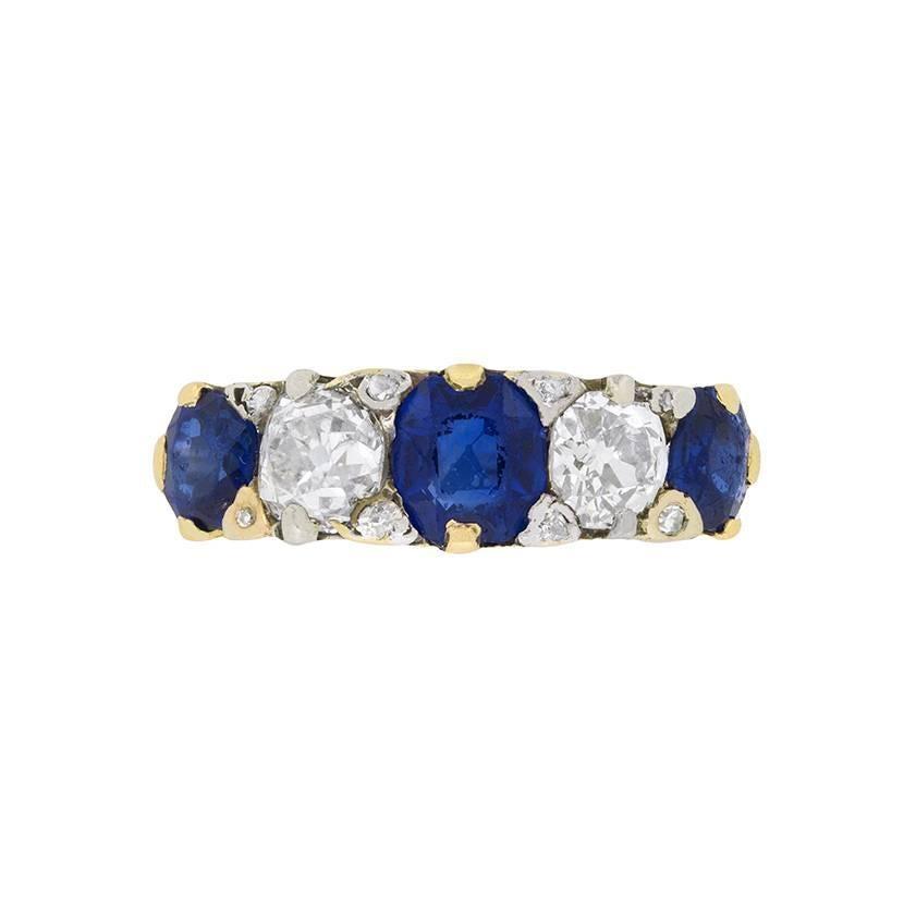 Late Victorian Sapphire and Diamond Five-Stone Ring, circa 1900s