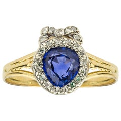 Late Victorian Sapphire and Diamond Heart Ring