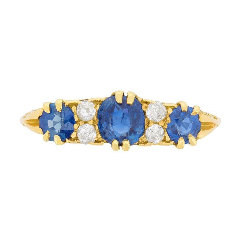 Late Victorian Sapphire and Diamond Ring, circa 1900s
