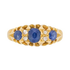 Late Victorian Sapphire and Rose Cut Diamond Ring, circa 1900s