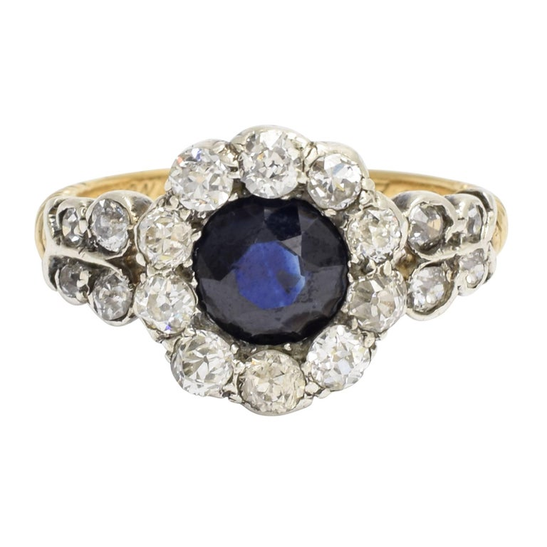 Late Victorian Sapphire Diamond Cluster Engagement Ring