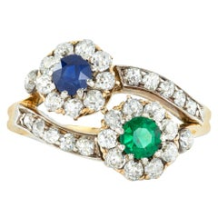 Late Victorian Sapphire, Emerald and Diamond Ring