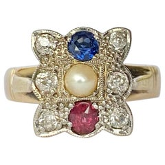 Late Victorian Sapphire, Ruby, Pearl and Diamond 18 Carat Gold Panel Ring