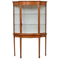 Late Victorian Satinwood Serpentine Display Cabinet