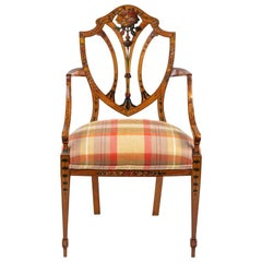 Late Victorian Sheraton Revival Painted Satinwood Armchair