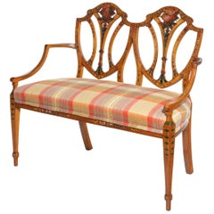 Late Victorian Sheraton Revival Painted Satinwood Two-Seat Settee