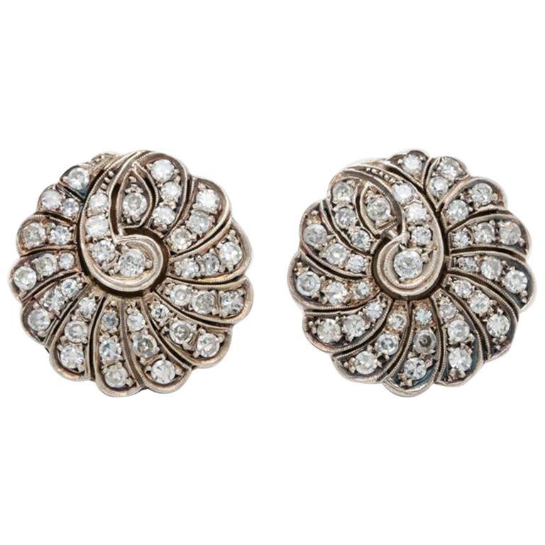 Late Victorian Silver & 14 Karat Gold 2.5 Carat Diamond Paisley Cluster Earrings