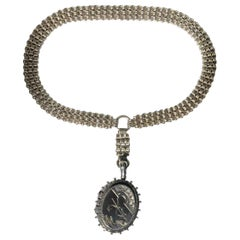 Late Victorian Silver Locket and Necklace