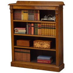 Late Victorian Solid Oak Open Bookcase