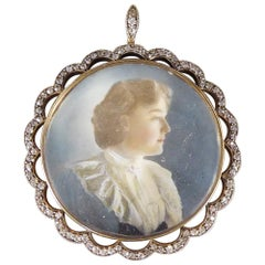 Late Victorian Superb Quality Diamond Set Portrait Pendant in Silver and Gold