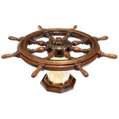 Late Victorian Teak Steering Wheel