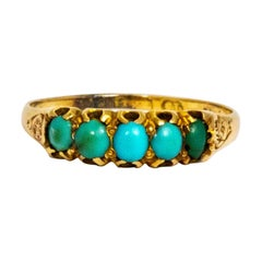 Late Victorian Turquoise and 15 Carat Gold Five-Stone Ring