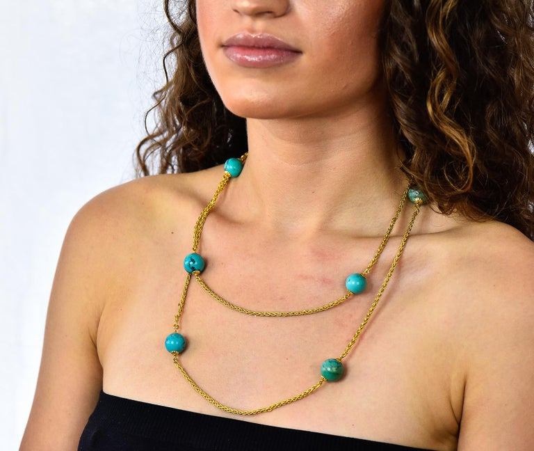 Late Victorian Turquoise Bead 18 Karat Gold Long Chain Necklace For Sale 4