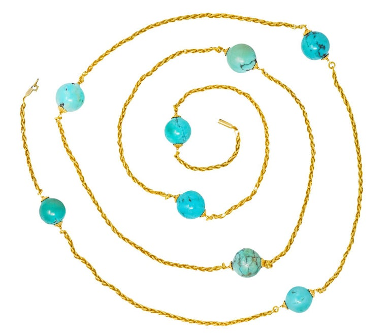 Late Victorian Turquoise Bead 18 Karat Gold Long Chain Necklace For Sale 3