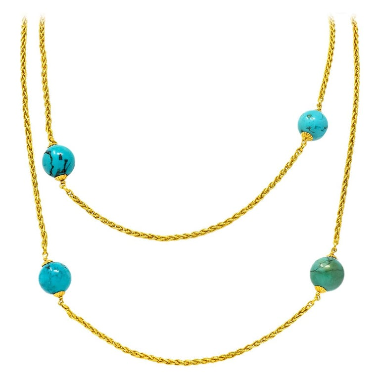 Late Victorian Turquoise Bead 18 Karat Gold Long Chain Necklace For Sale