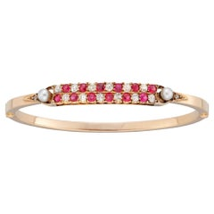 Late Victorian Two-Row Ruby and Diamond Bangle