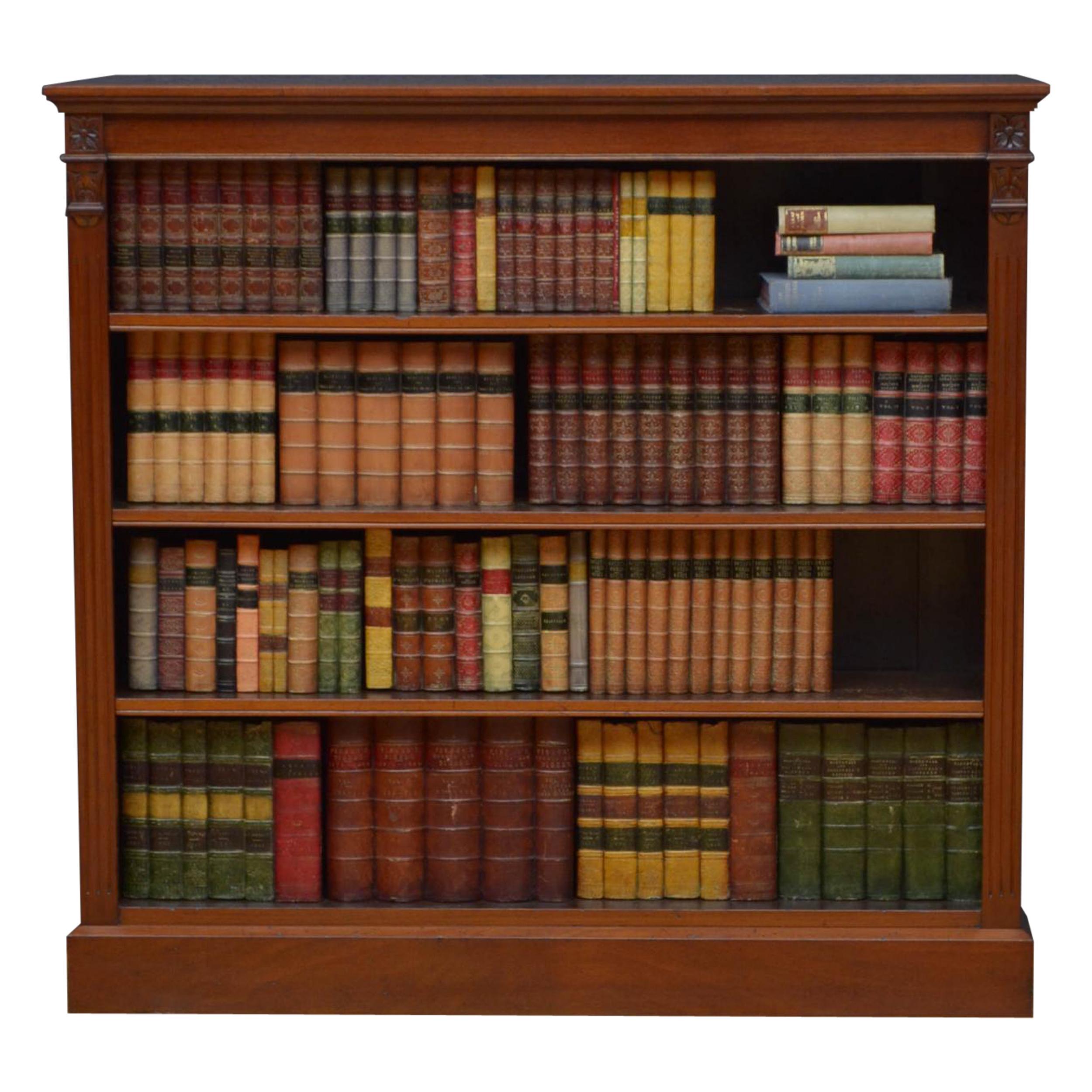 Late Victorian Walnut Open Bookcase