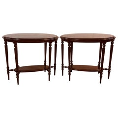 Late Victorian Walnut Oval Side Tables, Pair
