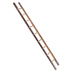 Late Victorian Wooden Library Pole Ladder by Taylor