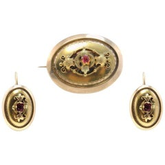 Late Victorian Yellow Gold and Ruby Brooch and Earrings