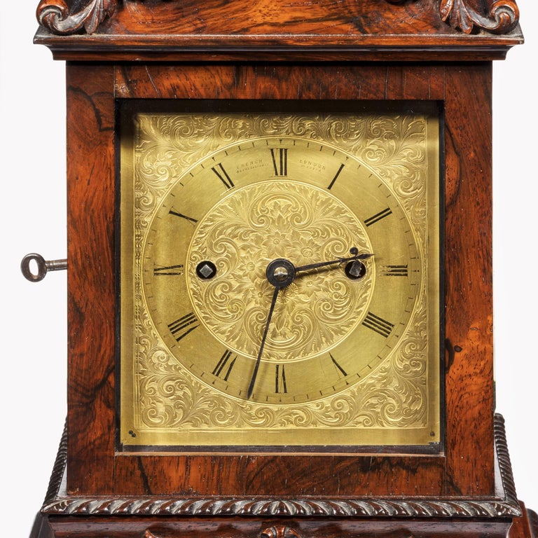 English Late William IV Rosewood Bracket Clock by French, Royal Exchange, London For Sale