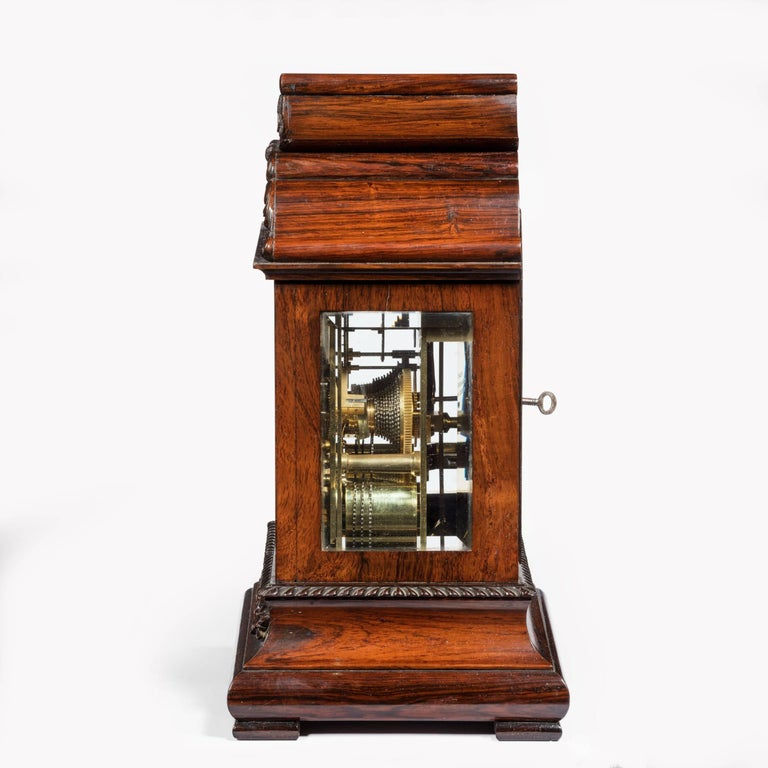 Late William IV Rosewood Bracket Clock by French, Royal Exchange, London In Good Condition For Sale In Lymington, Hampshire