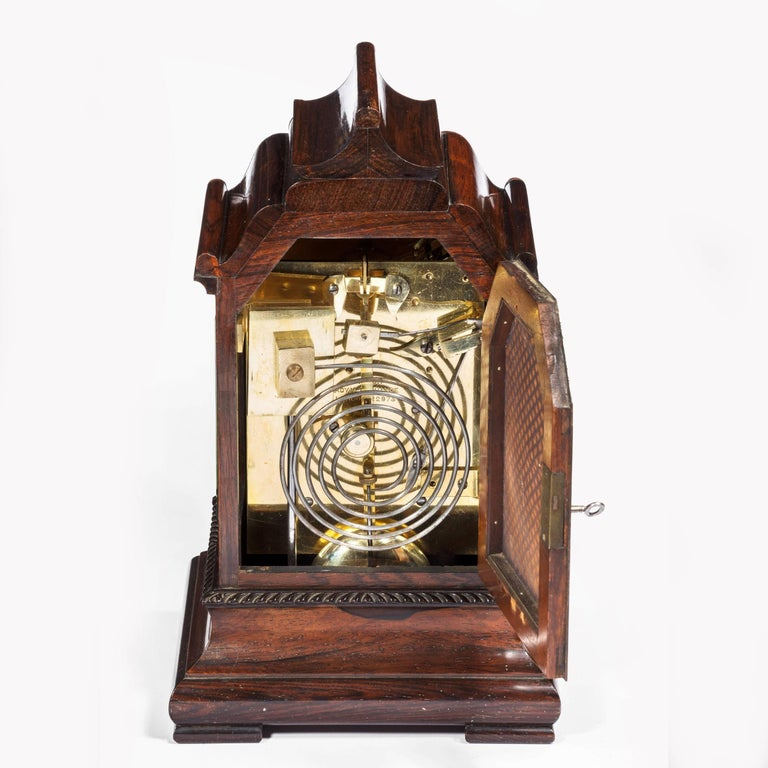 Mid-19th Century Late William IV Rosewood Bracket Clock by French, Royal Exchange, London For Sale
